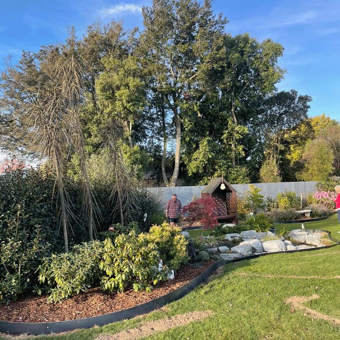 straight edge curve rock garden